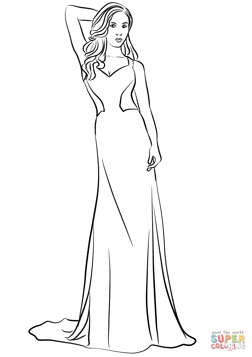 V-Neck Long Prom Dress coloring page | Free Printable ...