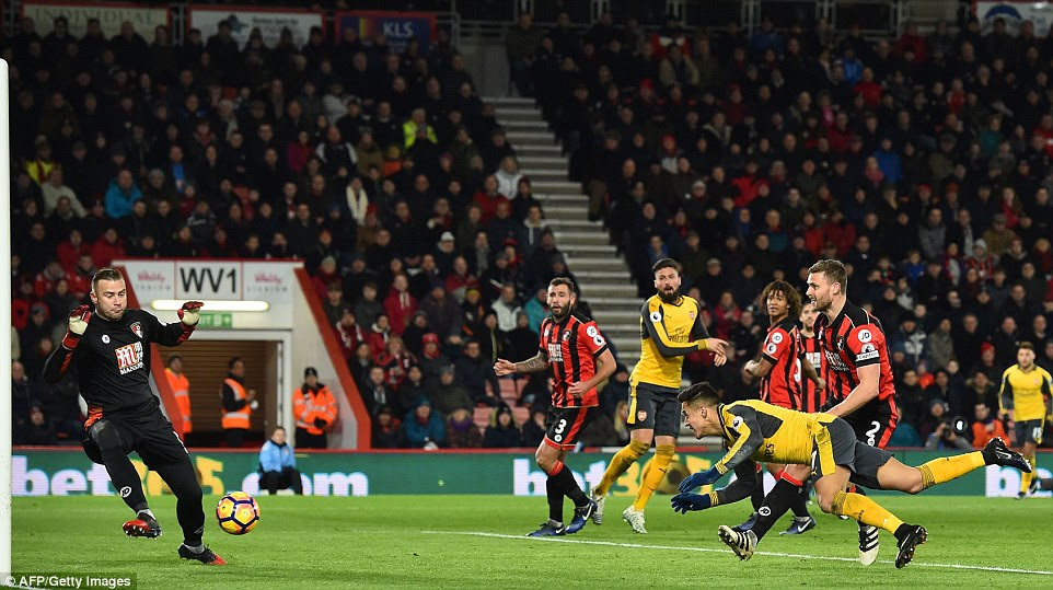 Sanchez scored Arsenal's first goal of the evening as the visitors looked to rescue at least a point against Bournemouth