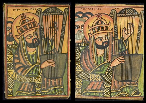 2 versions of man playing harp