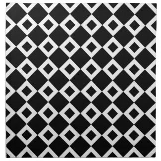 Black and White Diamond Pattern Printed Napkin
