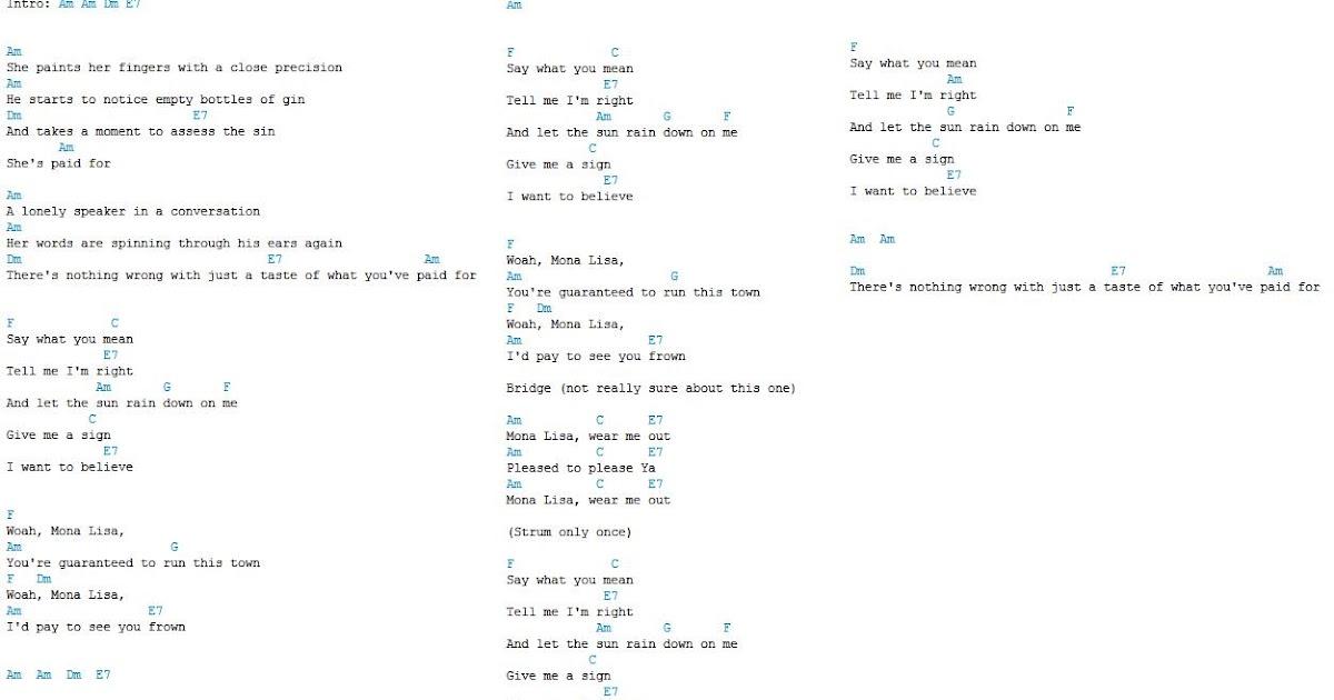 Fantastic Mona Lisa Chords Elaboration — Ronhall76