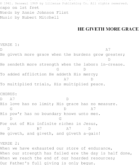 He Giveth More Grace Lyrics And Chords