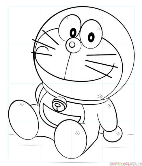 How to draw Doraemon  Step by step Drawing tutorials
