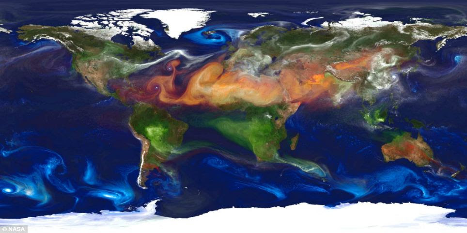 The Nasa image shows aerosols in the atmosphere. Dust (red) is lifted from the surface, sea salt (blue) swirls inside cyclones, smoke (green) rises from fires, and sulfate particles (white) stream from volcanoes and fossil fuel emissions.