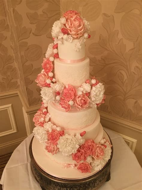 Floral swag Wedding cake   Mel's Amazing Cakes