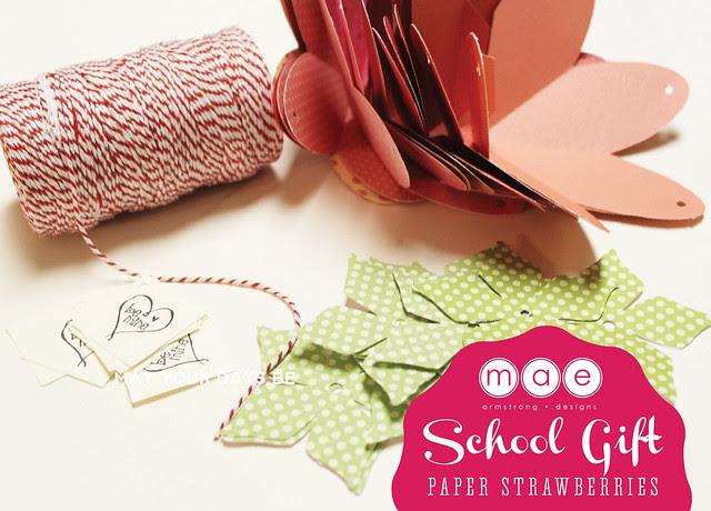 Paper Strawberries - School gift