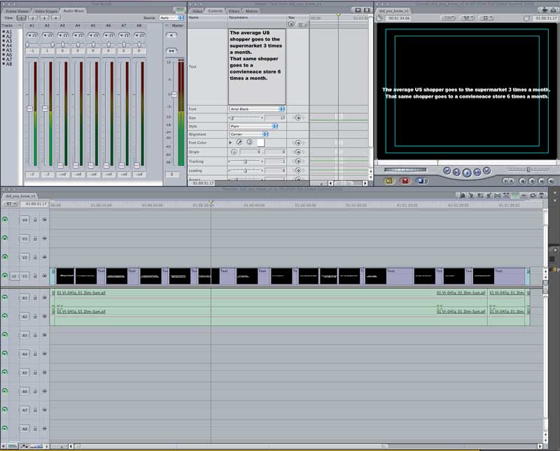 The project blocked out in a FCP timeline