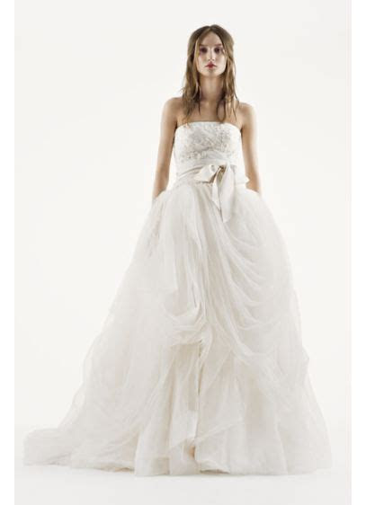 White by Vera Wang Tossed Tulle Wedding Dress   David's Bridal