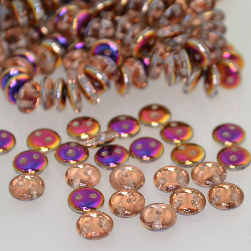 s41773 Pressed Glass - 6 mm 2 Hole Lentils - Crystal Sliperit (25)