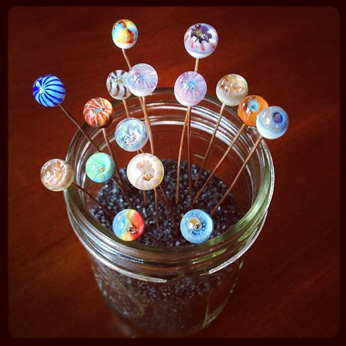 Glass headpin display glass addictions Jen Cameron #beadfest #glassaddictions #aje #artjewelryelements #lampwork