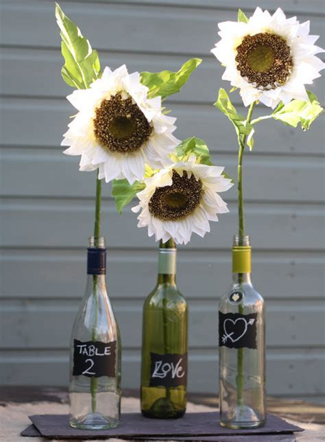 silk sunflowers wedding table decorations   UK Wedding