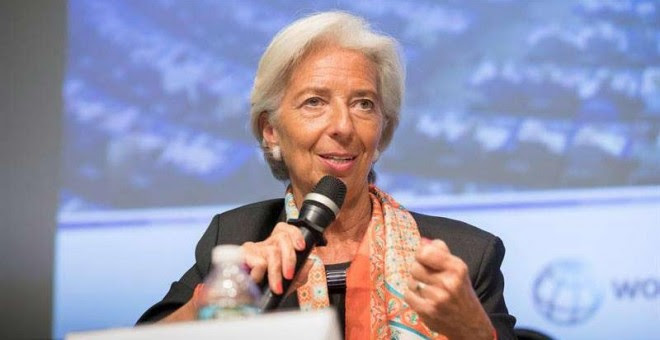 Fotografía de Christine Lagarde durante un encuentro durante la reunión de primavera del FMI y el Banco Mundial que se celebra esta semana.   EFE