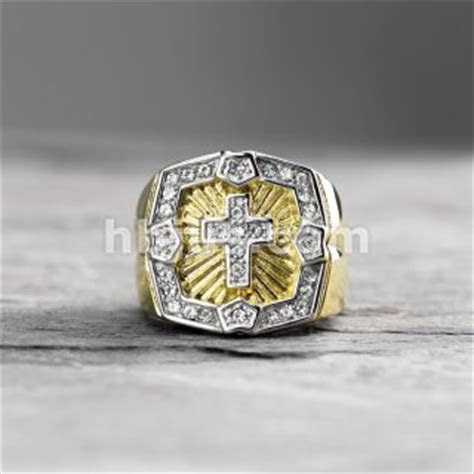 Crystal Paved Square Face with Cross Center PVD Gold Over