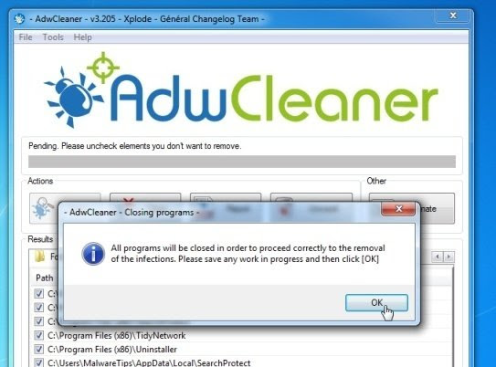 AdwCleaner removing malware