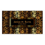 Black and Metallic Gold Floral Damask Double-Sided Standard Business Cards (Pack Of 100)