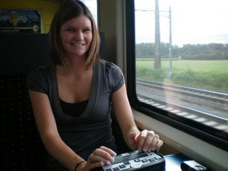 Jamie on the train with her PK making her Replay files of the trip