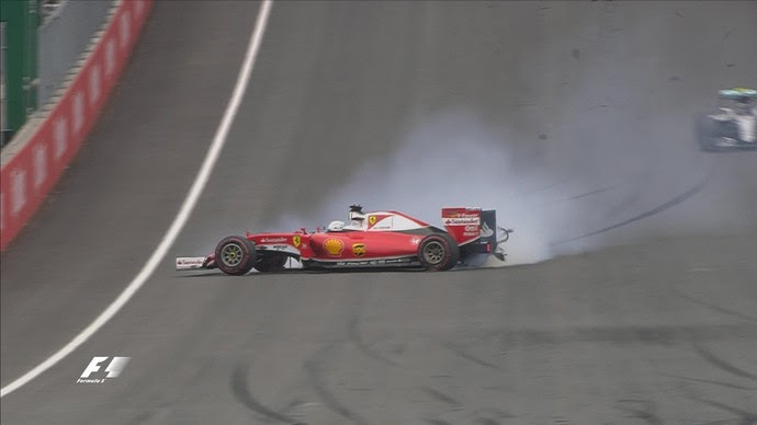 Sebastian Vettel furou pneu e bateu quando liderava a prova (Foto: Divulgação)