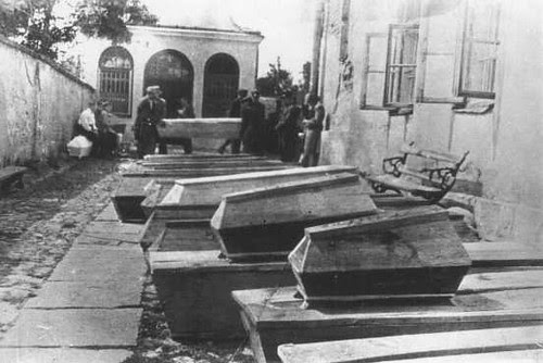 Coffins of Jews killed in postwar Poland.
