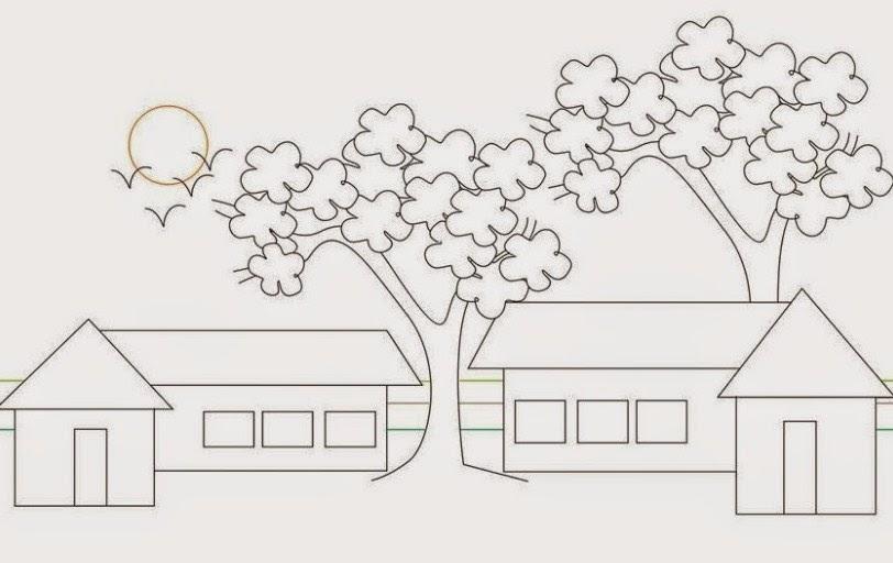 sketsa gambar sekolah sd