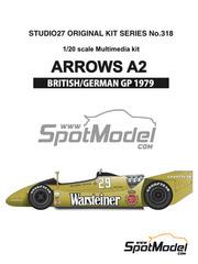 Maqueta de coche 1/20 Studio27 - Arrows Ford A2 Warsteiner Nº 29, 30 - Riccardo Patrese, Jochen Mass - Gran Premio de Alemania, Gran Premio de Inglaterra 1979 - kit multimaterial