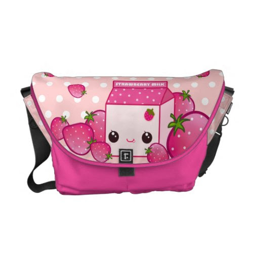 Cute pink milk carton with kawaii strawberries rickshaw_messengerbag