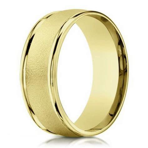 6mm Wire Finish Men's Designer Wedding Ring in 14k Yellow