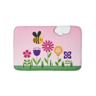 Happy Bee Flower Garden Bath Mats
