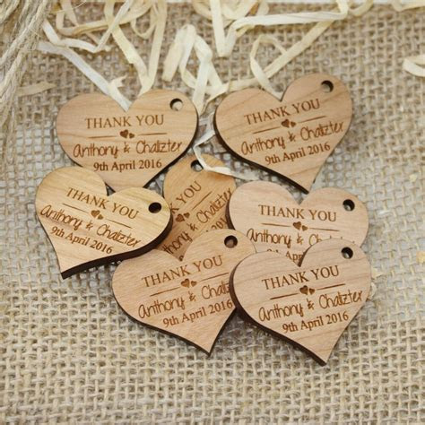 personalised engraved wooden heart wedding gift tag wth