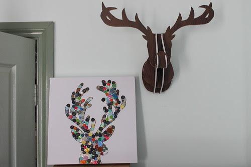 Button deer head art
