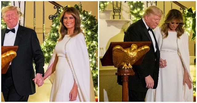 Melania Trump amazes in white dress at congressional ball with President Trump