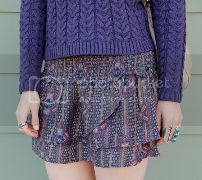 Cotton On cable knit sweater with Forever 21 boho babe skirt