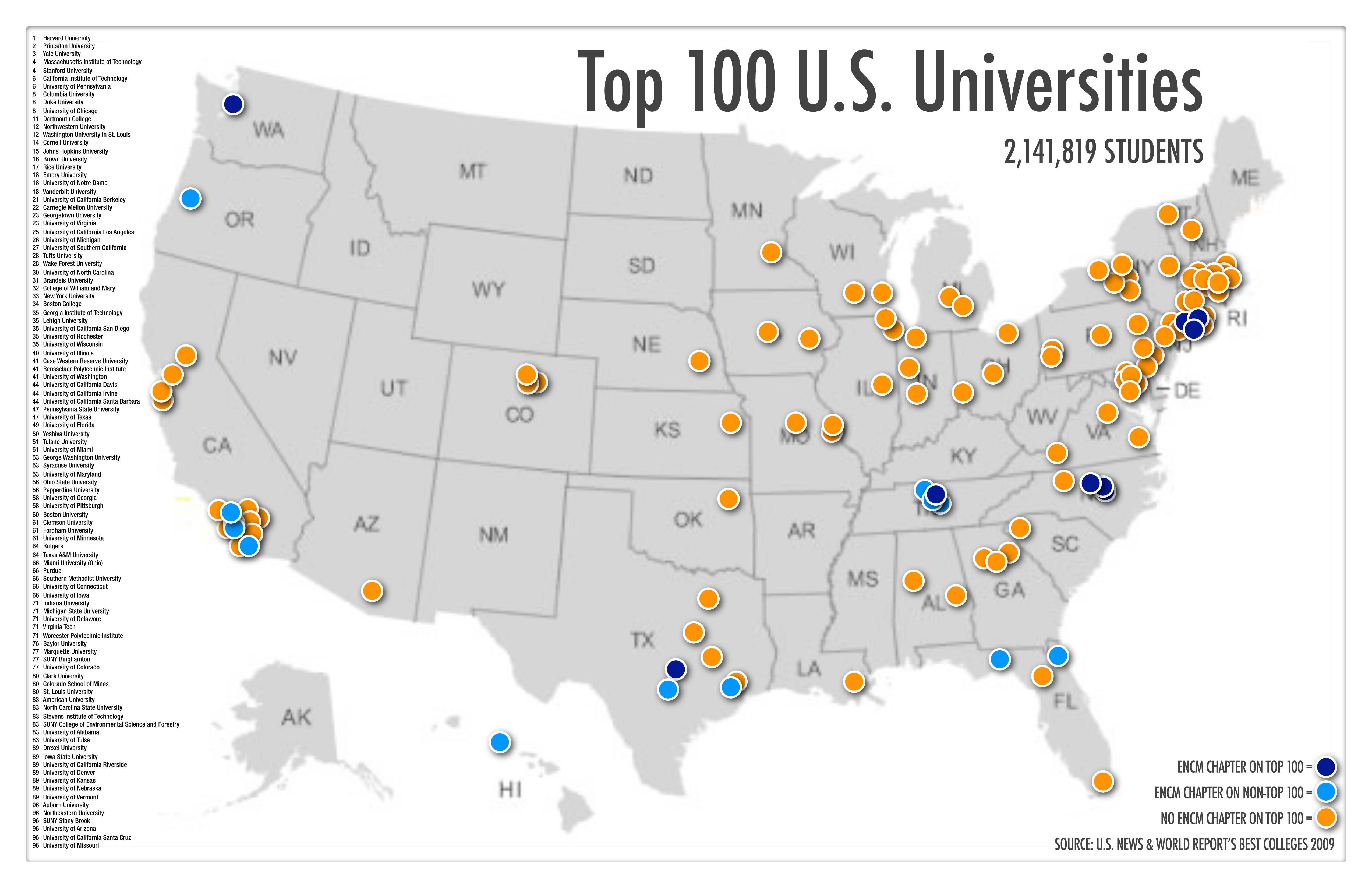 University Map Of Usa