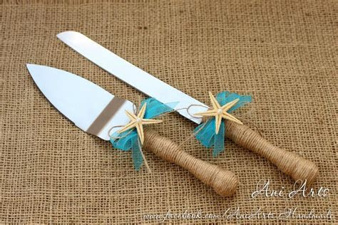 Beach Wedding Cake Server And Knife Nautical Wedding Cake