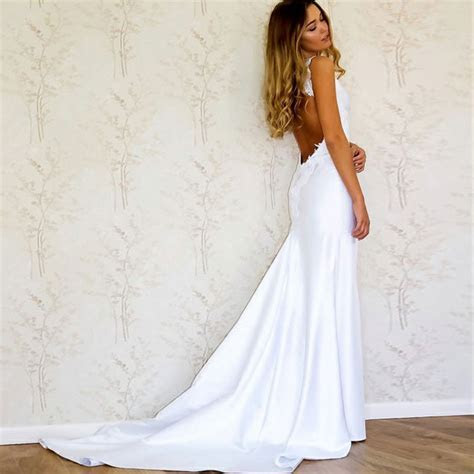 Mermaid V Neck Open Back Court Train Wedding Dress with