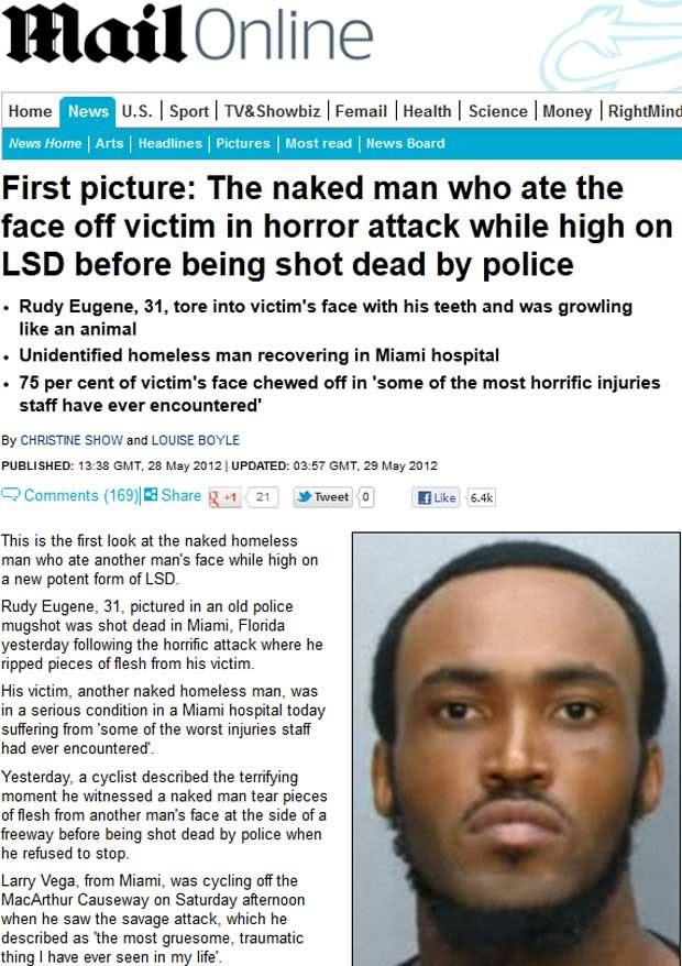 Rosto de Rudy Eugene, 31, homem que teria comido o rosto de outro em Miami (Foto: Reprodução)