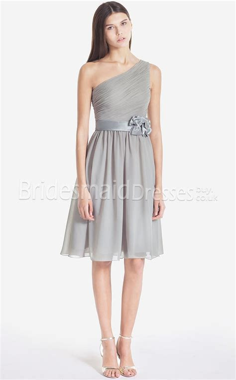 Cheap Silver Chiffon A line One Shoulder Knee length With