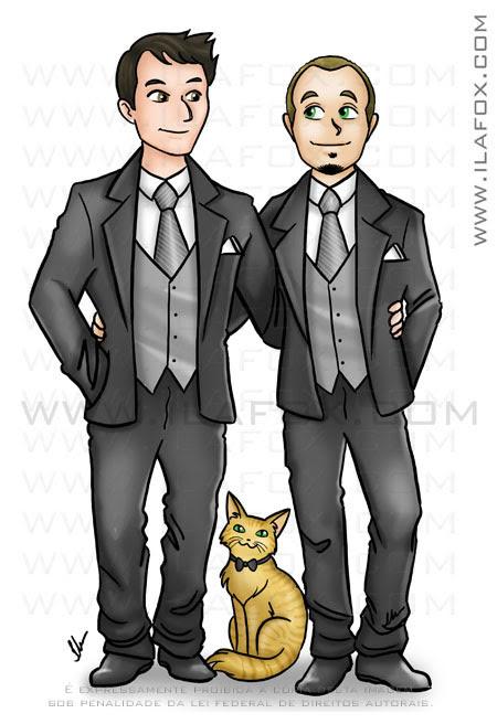 Caricatura casal gay, homossexual, união homoafetiva, noivos gays, dois homens abraçados, gato amarelo de gravata, caricatura para casamento, by ila fox
