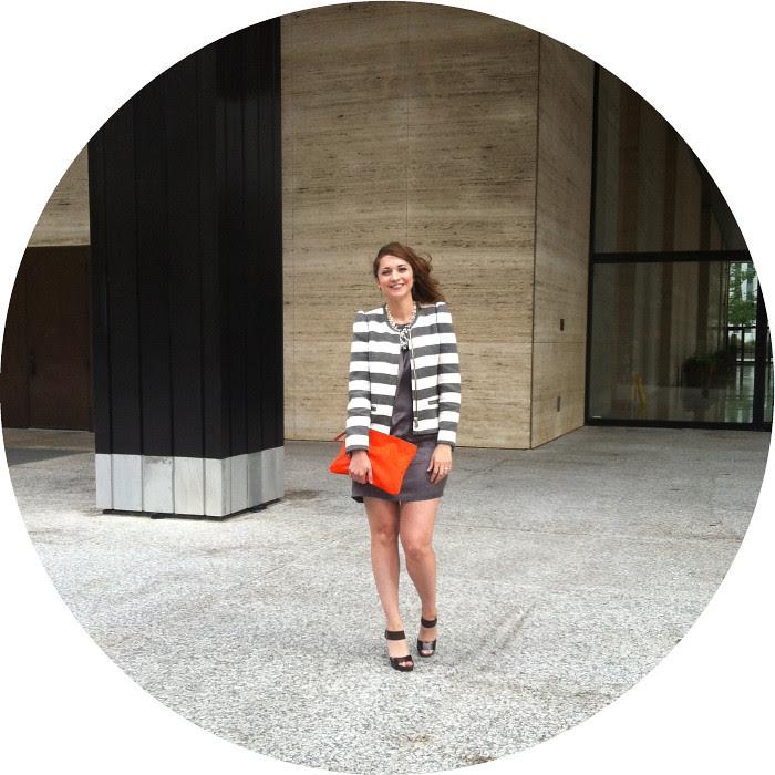 july blog post, zara striped jacket, stripes, gray joie silk dress, orange clutch, downtown chicago, ootd, work event, cocktail party
