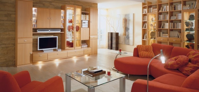 modern orange sofa