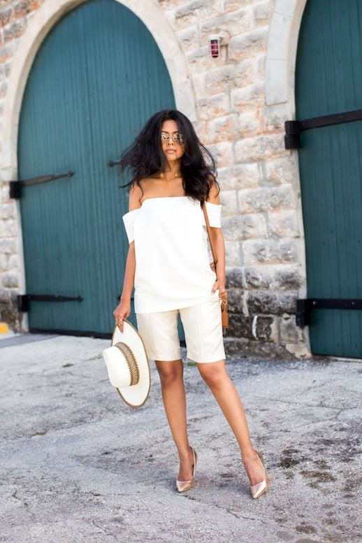 11 Le Fashion 31 Stylish Ways To Wear An Off The Shoulder Look White Top Bermuda Shorts Via Walk In Wonderland