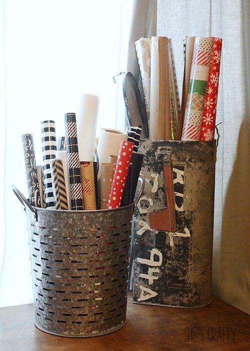 gift wrap holder vintage mail box olive bucket