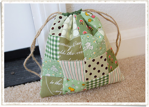 Patchwork Drawstring Bag