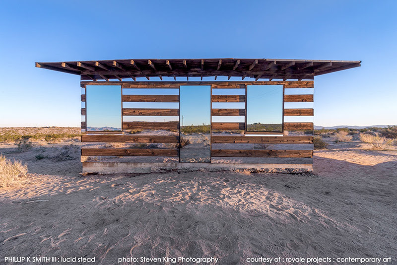 Lucid Stead: A Transparent Cabin Built of Wood and Mirrors by Phillip K Smith III installation architecture