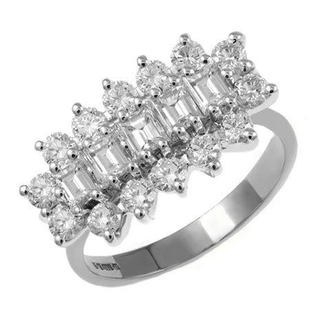 Platinum 2.00ct 5 stone baguette diamond cluster ring