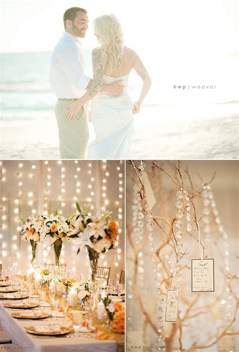 Beach bride and groom kiss near ceremony venue, elegant