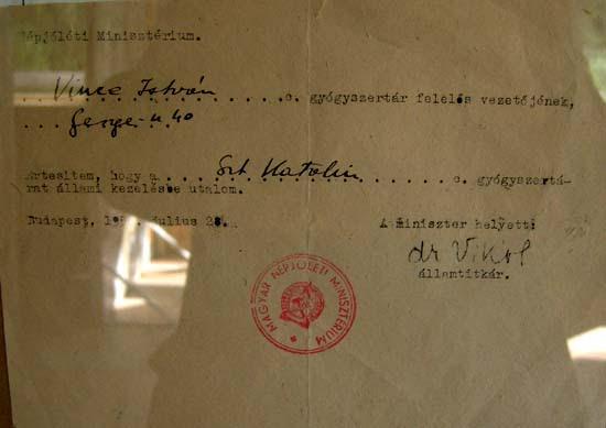 Budapest, Kőbánya, Saint Catherine pharmacy, notification of nationalization, 1950