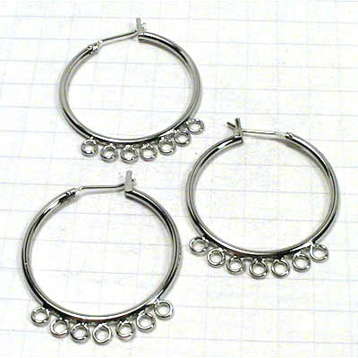 23601041 Findings - Earring - Chandelier -  Large Hoop w 7 loop - Rhodium Plated (Pair)