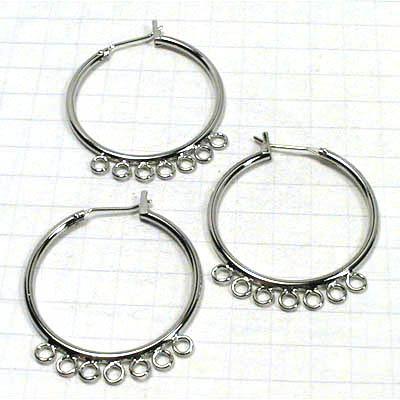 23601041 Findings - Earring - Chandelier -  Large Hoop w 7 loop - Rhodium Plated (Pair)