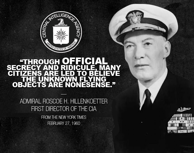 """realdisclosure:  From a New York Times Article """"It is time for the truth to be brought out in open Congressional hearings. Behind the scenes, high-ranking Air Force officers are soberly concerned about the UFOs. But through official secrecy and ridicule, many citizens are led to believe the unknown flying objects are nonsense. To hide the facts, the Air Force has silenced its personnel."""" - Admiral Roscoe H. Hillenkoetter, First Director of the CIA Link to New York Times Article: http://select.nytimes.com/gst/abstract.html?res=F50A12F9345D1A728DDDA10A94DA405B808AF1D3"""