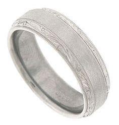 14k white gold Wedding Band, Vintage ring, Art Deco